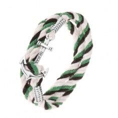 Pleciona bransoletka z czarnych, zielonych i dwóch białych sznurków, lśniąca kotwica