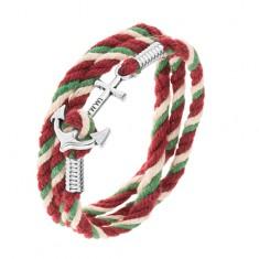 Bransoletka ze sznurków zielonego, beżowego i bordowego koloru, lśniąca kotwica