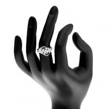 Błyszczący pierścionek, pas przezroczystych cyrkonii, rozdzielone końce ramion