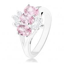 Lśniący pierścionek w srebrnym odcieniu, różowe cyrkoniowe owale, przezroczyste cyrkonie