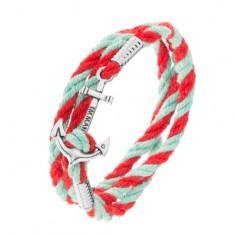 Turkusowo-czerwona bransoletka z zawiniętych sznurków, kotwica srebrnego koloru
