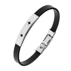 Gumowa bransoletka czarnego koloru, lśniąca stalowa blaszka, wycięcia - gwiazdeczki