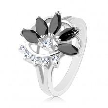 Błyszczący pierścionek w srebrnym odcieniu, przezroczysty cyrkoniowy łuk, czarny niepełny kwiat