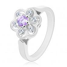 Pierścionek srebrnego koloru, przezroczysty błyszczący kwiatek z jasnofioletowym środkiem