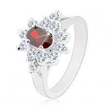 Pierścionek srebrnego koloru, ciemnoczerwony owal z cyrkoniową obwódką bezbarwnego koloru