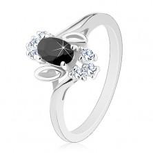 Pierścionek w srebrnym odcieniu, czarny wyszlifowany owal, listki, przezroczyste cyrkonie
