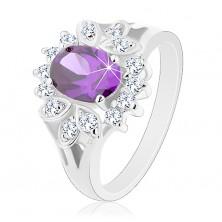 Błyszczący pierścionek z rozdzielonymi ramionami, cyrkonia fioletowego koloru, przezroczysta oprawa