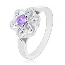 Błyszczący pierścionek w srebrnym odcieniu, fioletowo-przezroczysty cyrkoniowy kwiatek
