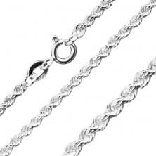 Błyszczący srebrny łańcuszek 925 - spiralnie połączone ogniwa, 3 mm