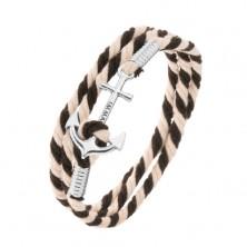 Beżowo-czarna sznurkowa bransoletka, kotwica z napisem srebrnego koloru