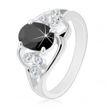 Pierścionek w srebrnym odcieniu, czarna owalna cyrkonia, przezroczyste cyrkonie, fale