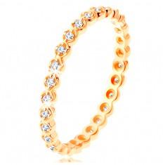 Złoty pierścionek 585 - okrągłe przezroczyste cyrkonie dookoła, faliste krawędzie