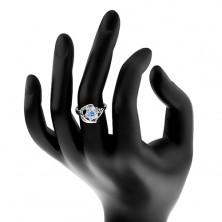 Błyszczący pierścionek, niebiesko-przezroczysty cyrkoniowy kwiatek, lśniące łuki