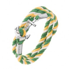 Kolorowa bransoletka na rękę w zielonym, żółtym i białym kolorze, lśniąca kotwica