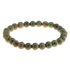 Elastyczna bransoletka na rękę, koraliki w zielonych odcieniach, gumeczka