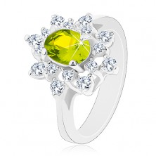 Pierścionek srebrnego odcieniu, błyszczący zielono-przezroczysty kwiat
