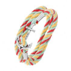 Pleciona bransoletka, kolorowe sznurki, kotwica w srebrnym odcieniu
