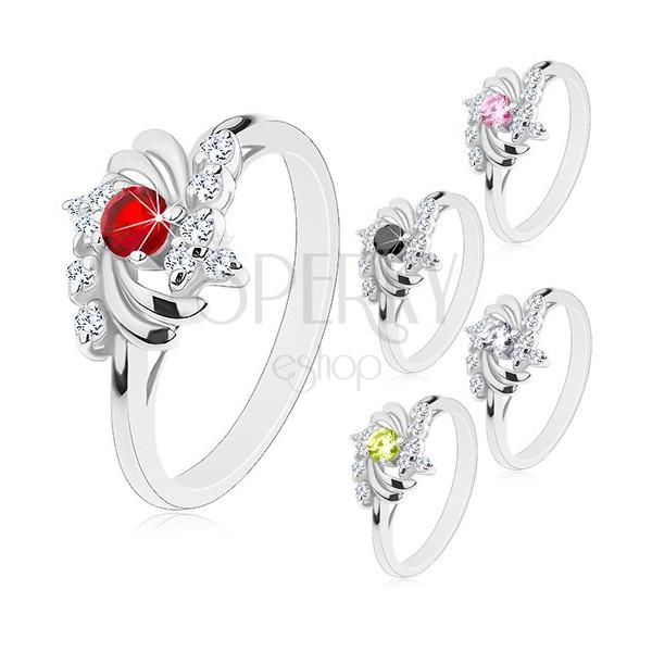 Pierścionek w srebrnym odcieniu, lśniące półksiężyce, okrągłe cyrkonie