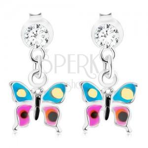Kolczyki ze srebra 925, wiszący motylek z niebiesko-fioletowymi skrzydłami, kryształ