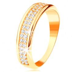 Pierścionek z żółtego 14K złota - dwa rzędy przezroczystych cyrkonii, lśniące zaokrąglone krawędzie