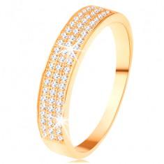Złoty pierścionek 585 - szeroki pas wyłożony trzema liniami przezroczystych cyrkonii