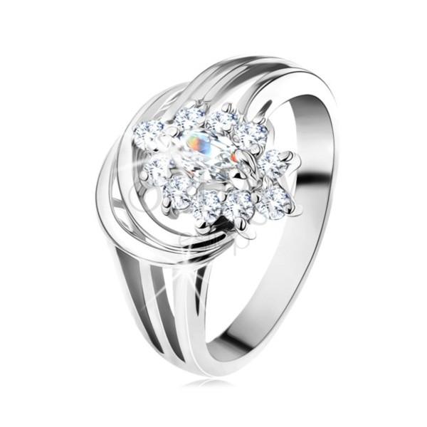 Błyszczący pierścionek, rozgałęzione ramiona w srebrnym odcieniu, przezroczysty cyrkoniowy kwiat
