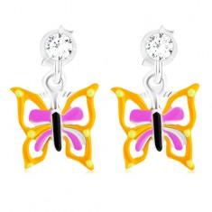 Kolczyki wkręty ze srebra 925, motyl z żółto-fioletowymi skrzydłami, emalia