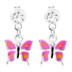 Srebrne 925 kolczyki, wiszący motylek z fioletowymi skrzydłami, kryształ Swarovskiego