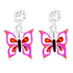 Srebrne 925 kolczyki wkręty, motylek w fioletowo-czerwonym odcieniu, kryształek