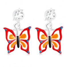 Kolczyki ze srebra 925, motyl w kropki z czerwono-pomarańczową emalią