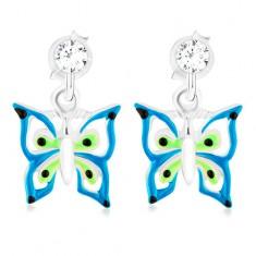 Kolczyki ze srebra 925, niebiesko-zielono-biały motylek z kryształkiem Swarovski