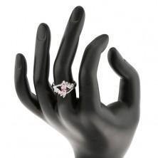 Błyszczący pierścionek z cyrkoniowym różowo-przezroczystym oczkiem, rozdwojone ramiona