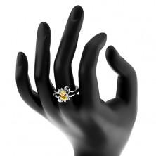 Błyszczący pierścionek z rozdzielonymi ramionami, żółto-przezroczyste cyrkonie, lśniące łuki