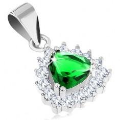 Zawieszka ze srebra 925 z zielonym cyrkoniowym trójkątem, błyszcząca oprawa