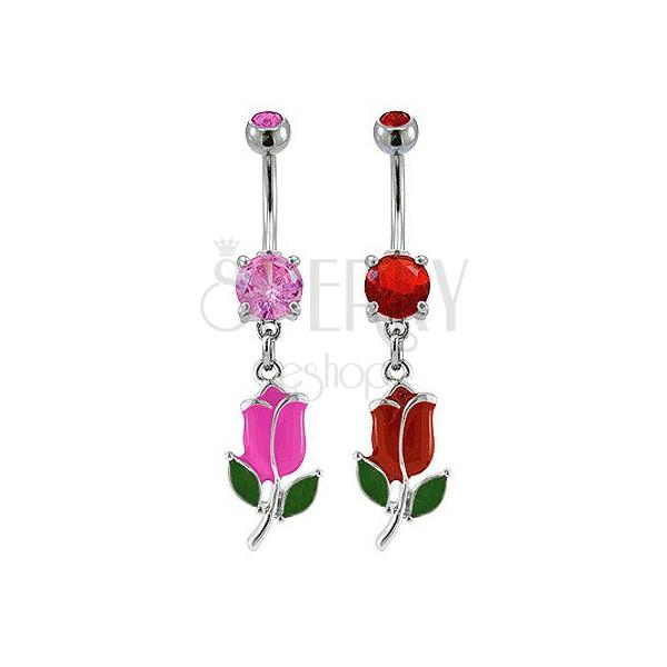 Piercing do pępka kolorowy tulipan