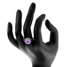 Błyszczący pierścionek srebrnego koloru, fioletowy owal, cyrkoniowa oprawa