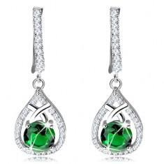 Błyszczące kolczyki, srebro 925, kontur łzy z okrągłą zieloną cyrkonią