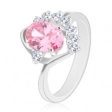 Lśniący pierścionek z zagiętym ramieniem, różowy owal, cyrkoniowy przezroczysty łuk, łuczek