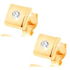 Kolczyki z żółtego 14K złota - lśniące kwadraciki, cyrkonie bezbarwnego koloru