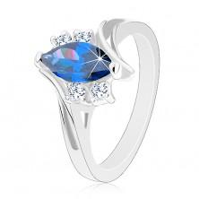 Lśniący pierścionek w srebrnym odcieniu, ramiona z nacięciem, ciemnoniebieskie ziarenko