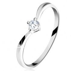 Złoty pierścionek 585 - lśniące zagięte ramiona, błyszczący wyszlifowany diament bezbarwnego koloru