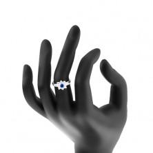 Pierścionek w srebrnym odcieniu, wyszlifowane okrągłe i ziarnkowe cyrkonie