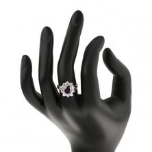 Pierścionek z rozdzielonymi ramionami, fioletowy owal w błyszczącej cyrkoniowej oprawie