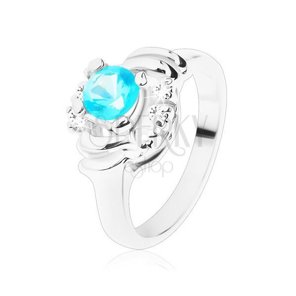 Błyszczący pierścionek z przezroczystymi łukami, jasnoniebieska okrągła cyrkonia, półksiężyce