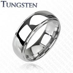 Wolframowy pierścionek z podwyższonym środkiem, lustrzany połysk, 8 mm