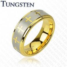 Tungsten pierścionek w złotym odcieniu, krzyżyki i pas srebrnego koloru, 8 mm