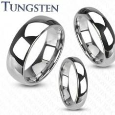 Wolframowy pierścionek - gładka lśniąca obrączka srebrnego koloru, 4 mm