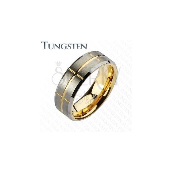 Dwukolorowa obrączka Tungsten, złoty i srebrny odcień, nacięcia, 8 mm