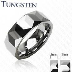 Obrączka z wolframu srebrnego koloru, geometrycznie wyszlifowana powierzchnia, 6 mm
