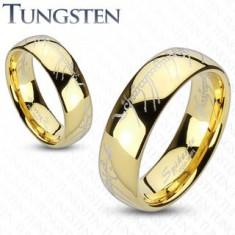 Obrączka Tungsten, zaokrąglona powierzchnia złotego koloru, motyw Władcy Pierścieni, 6 mm